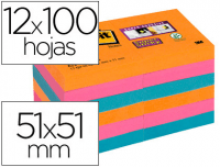 12 Notas Post-It rectangulares de 51x51 mm, supersticky, colores surtidos