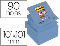Cubo Sticky Z-Notes Post-It® Rayadas 101x101 azules (90h)