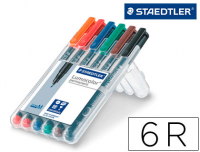 Rotuladores permanentes Staedtler Lumocolor 317 WP6, punta media, 6 colores