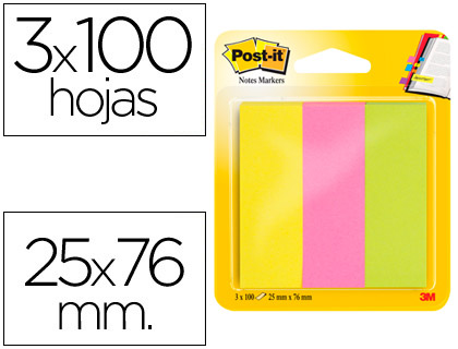 Mininotas Post-it 671/3 rosa, verde, amarillo neon