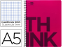 Cuaderno Liderpapel Think, A5, 140h, cuadricula 5x5, rosa, 6T