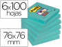 Post-it aguamarina, Notas Post-It super sticky de 76x76 mm