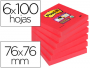 Post-It rojo amapola, Notas adhesivas cuadradas de 76x76 mm