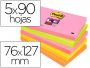 Envase 5 tacos de notas Post-It SuperSticky 76x127 mm de colores