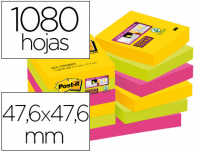 Notas Post-It superadhesivas, 47.6x47.6 mm, 90 hojas, 12 blocs
