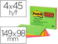 Notas Supersticky de Post-It, formato grande 149x98 mm, colores neon
