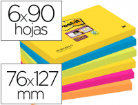 Pack 6 blocs 90h, notas adhesivas quita y pon, Post-it Supersticky 76x127 mm