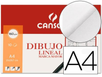 Papel Dibujo Lineal A4, Canson, 10 hojas 160 g/m²