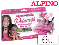 Set de maquillaje Alpino Princess con calcomanías, pincel y purpurina