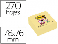 Cubo 270 notas adhesivas Post-It Super Sticky 76x76 amarillas