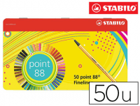 Stabilo® Point 88 estuche metal, 50 rotuladores, 0.4 mm